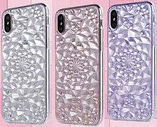Задняя накладка Sulada iphone 5 силикон 3D кристалы светло-розовая